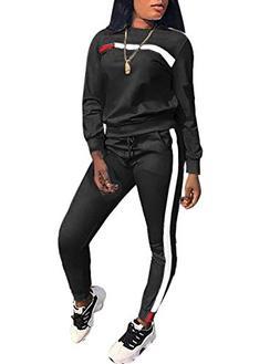 Stripe Patchwork Long Sleeve Sweatshirt Tops and Long Sweatp
