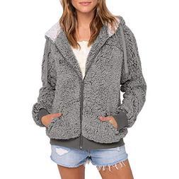 Sunward Womens Hooded Cardigans Zipper Cable Faux Fur Fleece