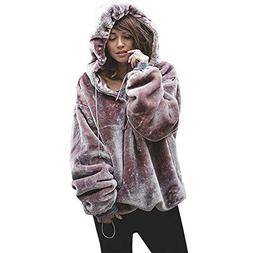 Sunward Womens Oversized Warm Fuzzy Hoodies Casual Loose Pul