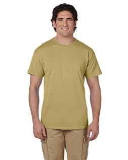 Gildan Men's Taped Neck Preshrunk Jersey T-Shirt, Tan, 3XL