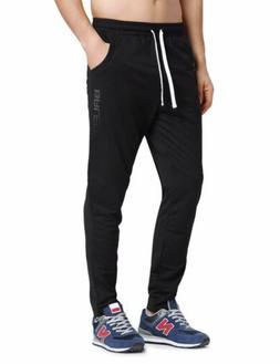 Baleaf Men's Tapered Athletic Running Track Pants Black Size