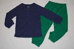Toddler Boys NAVY BLUE L/S WAFFLE KNIT HENLEY SHIRT Green Fo