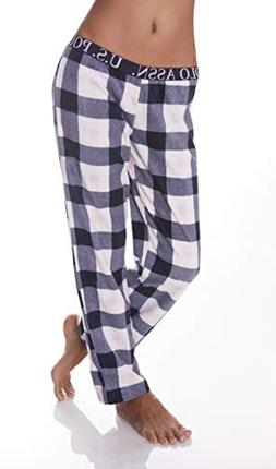 U.S. Polo Assn. Womens Super Soft Plaid Fleece Lounge Sleepw