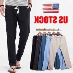 US Men Linen Cotton Casual Slim Pants Solid Fitness Sweatpan