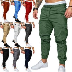 USA Mens Casual Cargo Track Pants Joggers Combat Trousers Jo