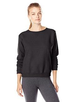 Hanes Women's V-Notch Pullover Fleece Sweatshirt, Ebony, Med