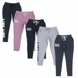 Victoria's Secret Pink Lace Up Front Sweatpants Graphic Logo