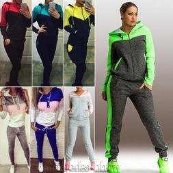 Women 2Pcs Tracksuit Hoodie Hooded Sweatshirt Pants Sets Cas