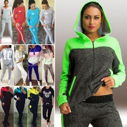 Women 2Pcs Tracksuit Hoodie Sweatshirt Pants Sets Sports Lou