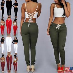 Women Cargo Pants High Waist Jogger Skinny Slim Trousers Sid