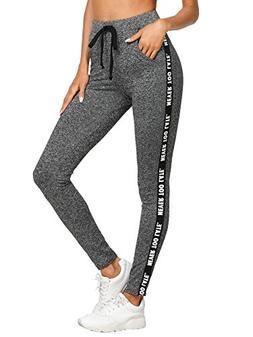 SweatyRocks Women High Waist Pants Casual Yoga Leggings Swea