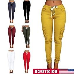 Women Lady Cargo Pants High Waist Jogger Skinny Trousers Sid
