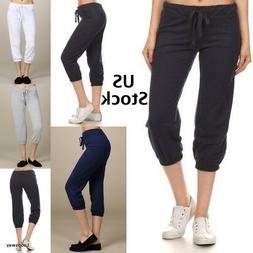 Women Plain Joggers Sweatpants Drawstring Capri Yoga Dance R