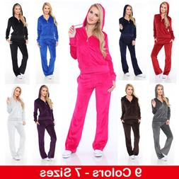 Women's Athletic Soft Velour Zip Up Hoodie & Sweat Pants Set