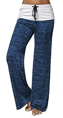 Artfish Women's Color Block Fold Over Waist Yoga Pants Worko