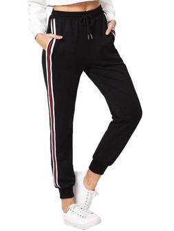 SweatyRocks Womens Drawstring Waist Striped Side Jogger Swea
