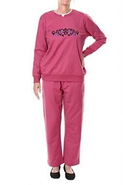 Pembrook Women's Embroidered Fleece Sweatsuit Set-3XL-Berry