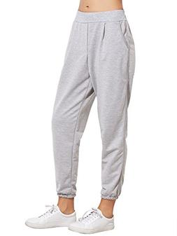 SweatyRocks Women's French Terry Jogger Pants Elastic Cuff P