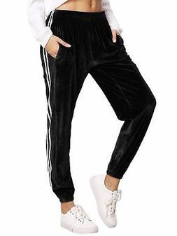 SweatyRocks Women's Jogger Pants Tape Side Velvet Drawstring