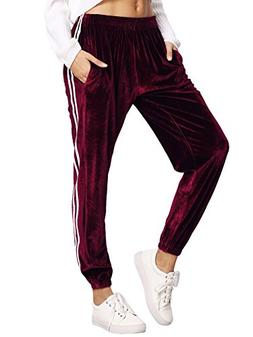 SweatyRocks Women's Jogger Pants Tape Side Velvet Drawstring