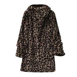 Sinfu Women's Long Sleeve Fleece Sweatshirt Warm Leopard Sha
