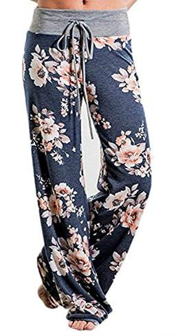 Artfish Women's Loose Baggy Yoga Long Pants Floral Printed T