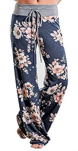 Artfish Women's Loose Baggy Yoga Long Pants Floral Printed T
