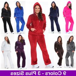 Women's Plus Size Athletic Velour Zip Up Hoodie & Sweat Pant