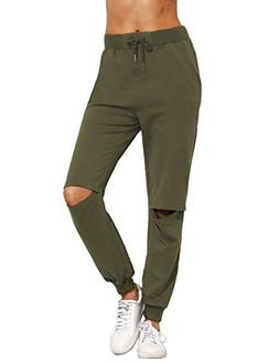 SweatyRocks Women's Ripped Pants Drawstring Yoga Workout Swe