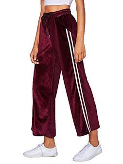 SweatyRocks Women's Side Striped High Waist Cropped Pants Lo