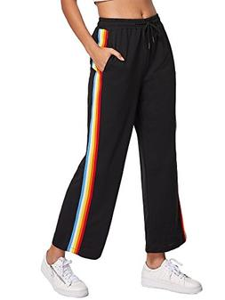 SweatyRocks Women's Side Striped High Waist Cropped Pants Lo