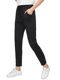 SweatyRocks Women's Straight Leg Pants Elastic Waist Drawstr