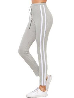 SweatyRocks Women's Striped Side Yoga Workout Leggings Draws