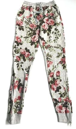 One Clothing Women's Sweat Pants Ankle Zip Skinny Leg Floral