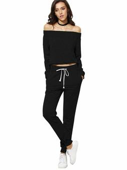 SweatyRocks Women's Two Piece Crop Top and Sweatpant Set Spo