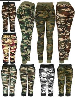 Womens Army Joggers Pants Casual Sweatpants Full and Capri L