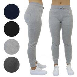 Womens Jogger Sweatpants w/ Zipper Pockets Slim-Fit Lounge G