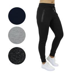 Womens Slim-Fit Jogger Sweatpants w/ Zipper Pockets Lounge S