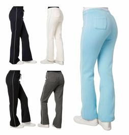 womens sweatpants fleece flare contrast piping juniors