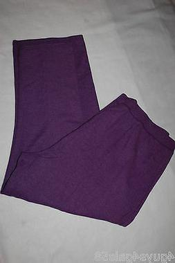 Womens Sweatpants PURPLE Speckled Look STRAIGHT LEG Ribbed W