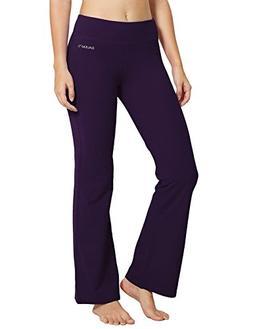 Baleaf Women's Yoga Bootleg Pants Inner Pocket Gothic Grape