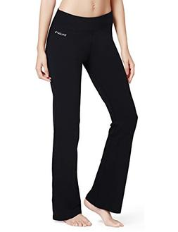 Baleaf Women's Yoga Bootleg Pants Inner Pocket Black Size XX