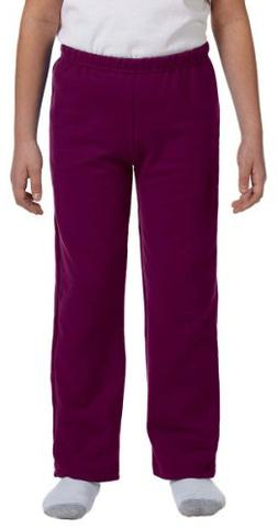 Gildan Youth Heavy BlendOpen Bottom Sweatpants - Maroon - S